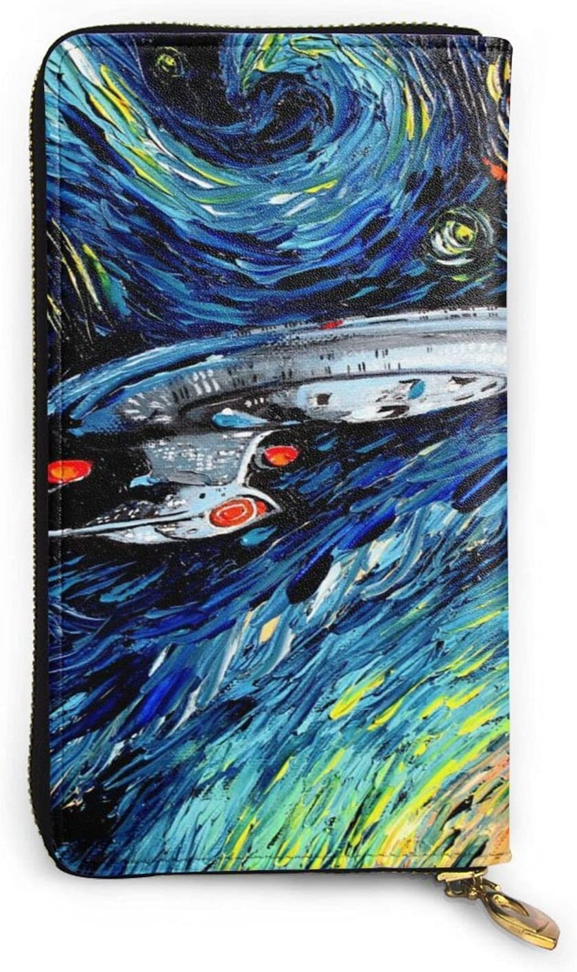 Star Trek Oil Painting Space Womens Real Leather Wallets fashion Purse Clutch Handbags Credit Waterproof
