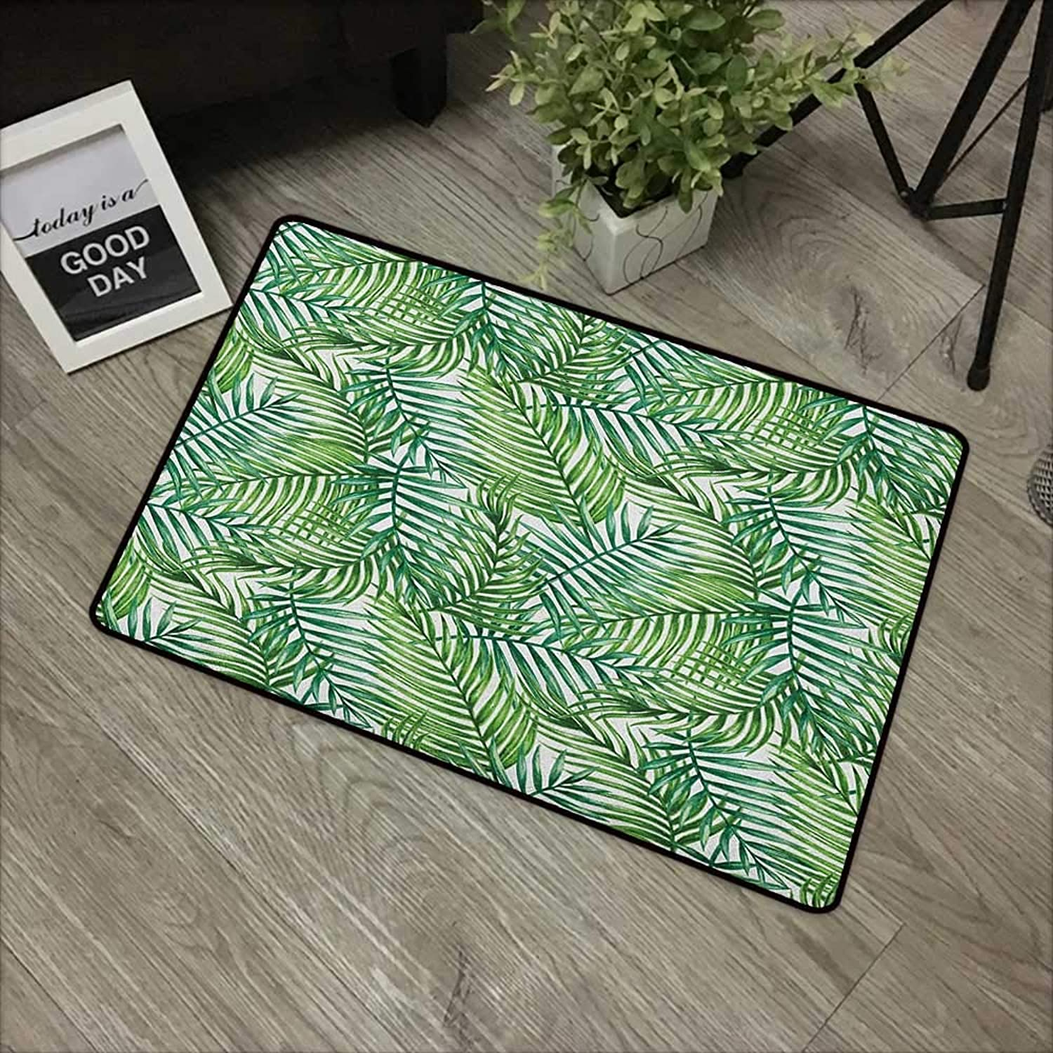 Bathroom Door mat W31 x L47 INCH Leaf,Watercolor Print Botanical Wild Palm Trees Leaves Ombre Design Image, Dark Green and Forest Green Non-Slip Door Mat Carpet