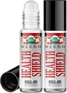 Organic Health Shield Blend Roll On Essential Oil Rollerball (2 Pack - USDA Certified Organic) Pre-diluted with Glass Roller Ball for Aromatherapy, Kids, Adults Topical Skin Application - 10ml