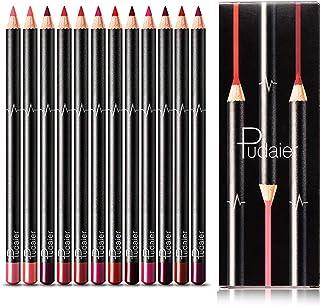 ست 12رنگ خط لب با رنگ های طبیعی مارک PUDAIER،خط لب آرایشی با ماندگاری بالا و رنگ مخملی،هرکدام(1.5گرم)