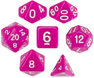 Wiz Dice Dragonberry Set of 7 Polyhedral Dice, Solid Neon Magenta Pink Tabletop RPG Dice with Clear Display Box