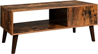 VASAGLE Retro Coffee Table, Cocktail Table, Mid-Century Modern Accent Table with Storage Shelf for Living Room, Reception, Easy Assembly, Brown ULCT09BX