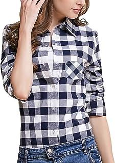 Tanming Women's Long Sleeve Fashion Plaid Shirts