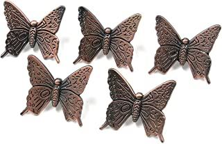 MTMTOOL Red Bronze Vintage Butterfly Shape Drawer Knob Pull Handle Butterfly Pulls for Chest Cupboard Dresser Door with Screws Pack of 5