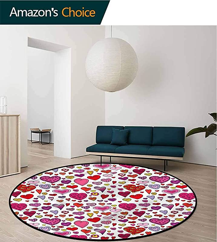 RUGSMAT Kids Art Deco Pattern Non Slip Round Area Rug Doodle Style Childish Love Green Soft Area Rugs Diameter 24