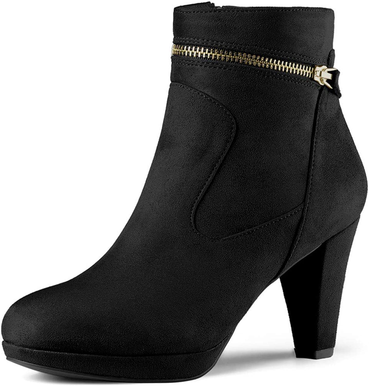 Allegra K Women's Round Toe Ankle Mid Heel Boots