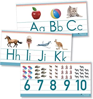 Alphabet and numbers classroom Wall Line for teaching ABCs Young N Refined (White Glossy Paper)