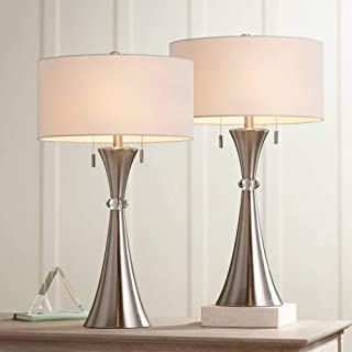 Rachel Modern Table Lamps Set of 2 Concave Column Hourglass Metal White Drum Shade for Living Room Bedroom Bedside Nightstand Office Family - 360 Lighting