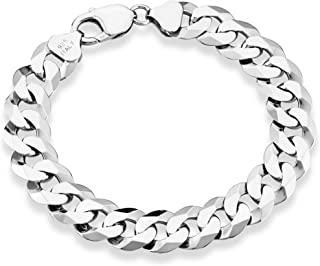 925 Sterling Silver Italian 12mm Solid Diamond-Cut Cuban Link Curb Chain Bracelet, 8, 8.5, 9 Inch Jewelry for Men Made in Italy