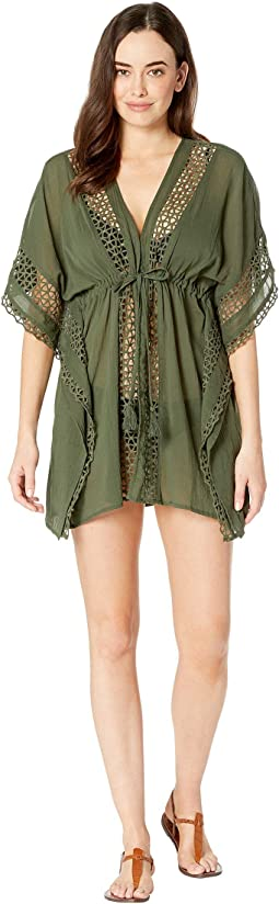 Shore Shades Tie Front Caftan Cover-Up