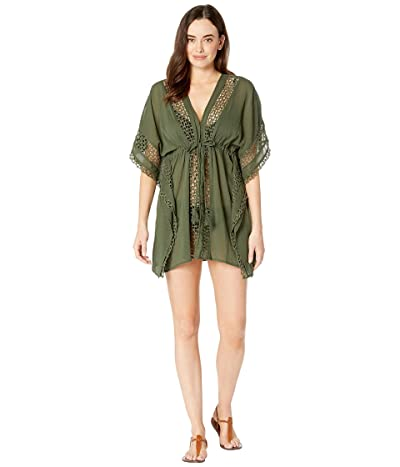 Vince Camuto Shore Shades Tie Front Caftan Cover-Up (Palm) Women