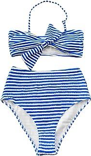 Women's Blue White Striped High Waisted Bowknot Padding Bikini Set