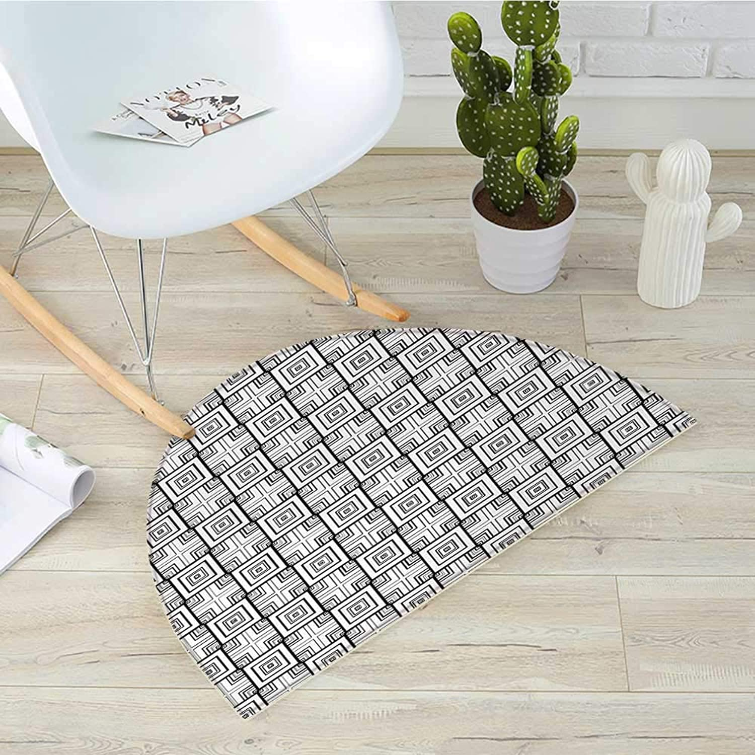 Black and White Half Round Door mats Geometrical Pattern with Overlapping Squares and Optical Illusion Effect Bathroom Mat H 23.6  xD 35.4  Black White