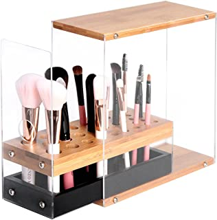 JackCubeDesign 31 Holes Acrylic Bamboo Brush Holder Organiser Beauty Cosmetic Display Stand with Leather Drawer(Black, 22.3 x 8.6 x 21.5 cm) – :MK228C