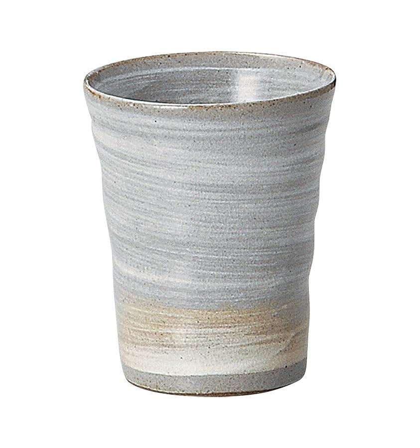 掃除静的連続した宗峰窯 陶器 タンブラー 灰釉 白刷毛 フリーカップ 220cc 350-27-313