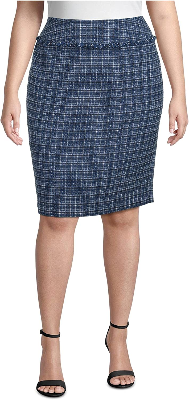 Kasper Womens Blue Fringed Plaid Knee Length Pencil Wear to Work Skirt Size 22W