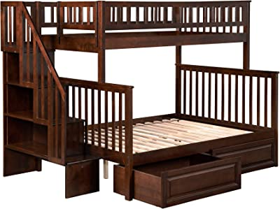 Atlantic Furniture AB56724 Woodland Staircase Bunk Bed with Raised Panel Bed Drawers, Twin/Full