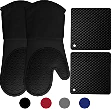 HOMWE Silicone Oven Mitts and Pot Holders, 4-Piece Set, Heavy Duty Cooking Gloves,..