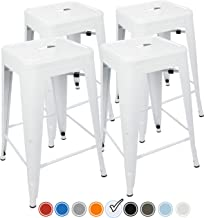 UrbanMod 24 Inch Bar Stools for Kitchen Counter Height, Indoor Outdoor Metal, Set of 4, White