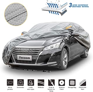 Tecoom HD Super Breathable Waterproof Windproof Snow Sun Rain UV Protective Outdoor All Weather Car Cover Fit 191-200 Inch...