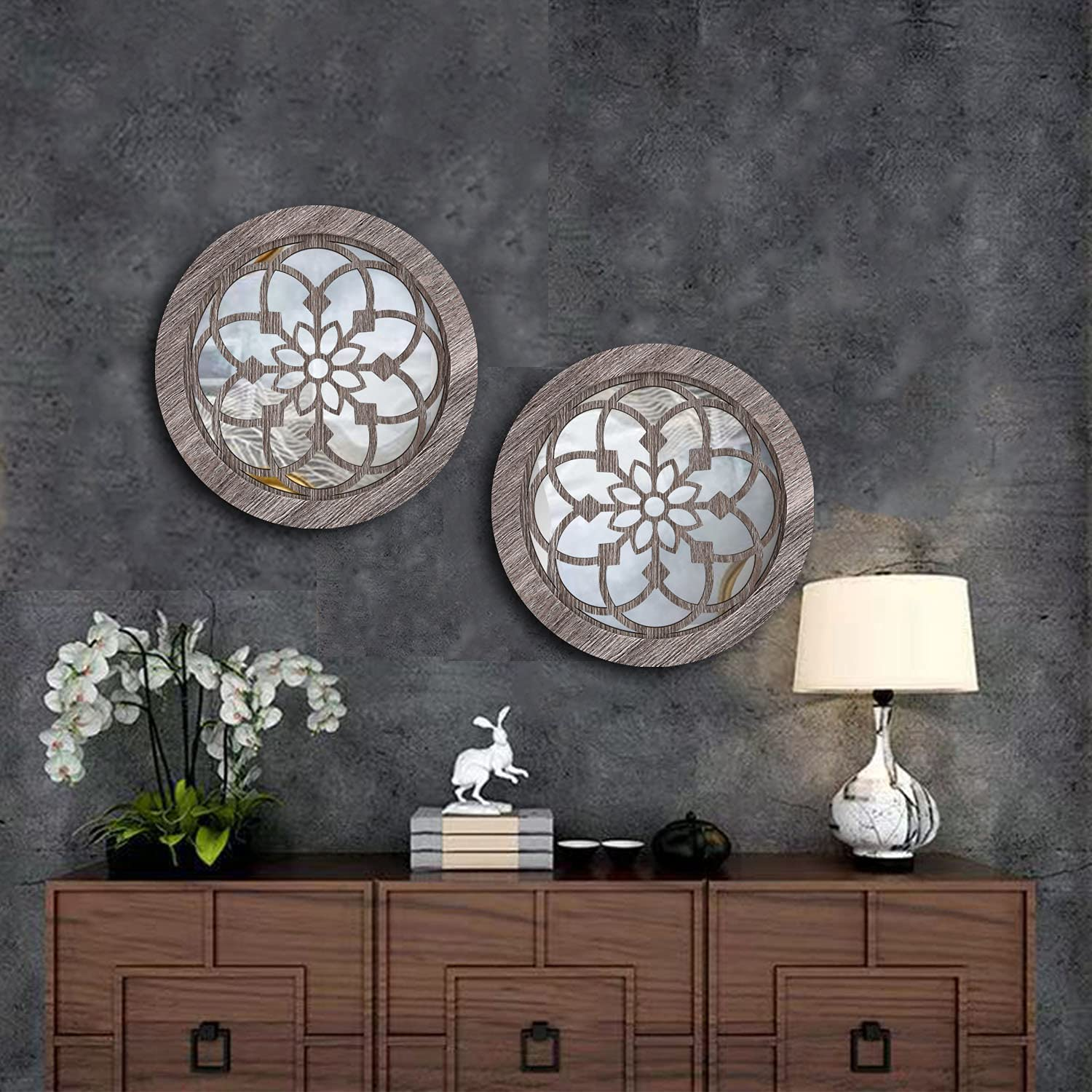 Round Rustic Decorative Wall Mirror - Living Room Farmhouse Wall Mirrors, Round Wall Mounted Mirror for Bedroom Kitchen Bathroom Entryway Home Decor Clearance, 2pcs 12 Inches Small Circle Mirror Art