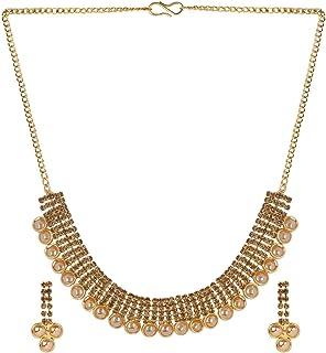 Efulgenz Indiano Bollywood Placcato Oro Cristallo Kundan Strass Perle finte Choker Collare Collana Orecchini Gioielli Set