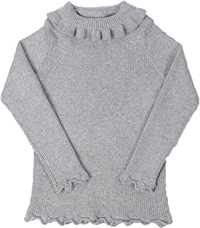 Little Kids Girls Long Sleeve Sweater Sweaters High Neck Ruflle Fine Knit Sweatshirt Pullover