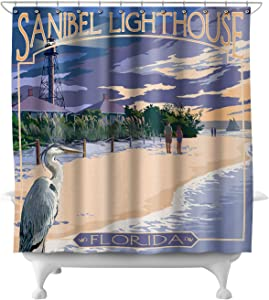 Lantern Press Sanibel Lighthouse, Florida 34170 (74x74 Polyester Shower Curtain)