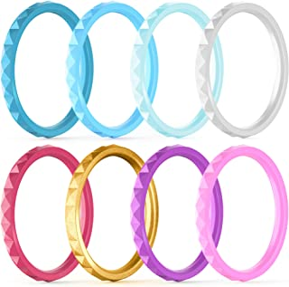 Best ThunderFit Thin and Stackable Silicone Rings, 8 Rings / 4 Rings / 1 Ring - Silicone Wedding Bands for Women - Diamond Pattern - Width 2.5mm - Thickness 2mm Review