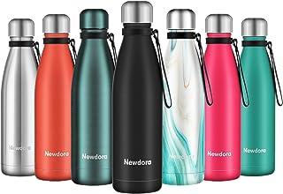 Newdora Botella de Agua Acero Inoxidable 500ml, Aislamiento de Vacío de Doble Pared, Botellas de Frío/Caliente, con 1 un C...