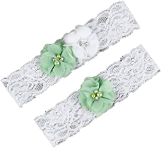 f1a9d1893d AliceHouse Vintage Beaded Lace Bridal Garters Set of 2 Keepsake Toss 13007