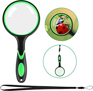 10X Magnifying Glass Handheld Reading Magnifier, 75mm Magnifying Lens and Non-Slip Handle with Rope for Jewelry, Coin, Rea...