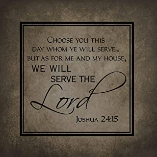 Home Decor Sign As For Me My House We Will Serve The Lord Square Dark Grey Metal Plaque for Outdoor Indoor Use Yard Fence Sign