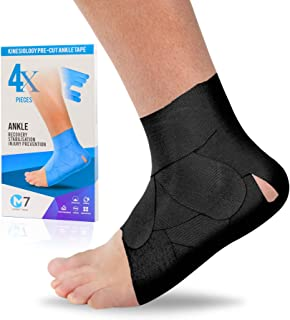 M7 Sport Kinesiology Ankle Tape for Ankle Sprain and Injury Recovery,  Pain Relief Kinesiology Tape, Ankle Brace Compression Support, Plantar Fasciitis, Waterproof, Eases Swelling (Black, 4-Pack)