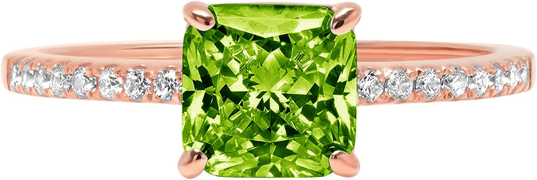 Clara Pucci 1.76 Brilliant Asscher Cut Solitaire Accent Stunning Genuine Flawless Natural Green Peridot Gem Designer Modern Ring Solid 18K Rose Gold
