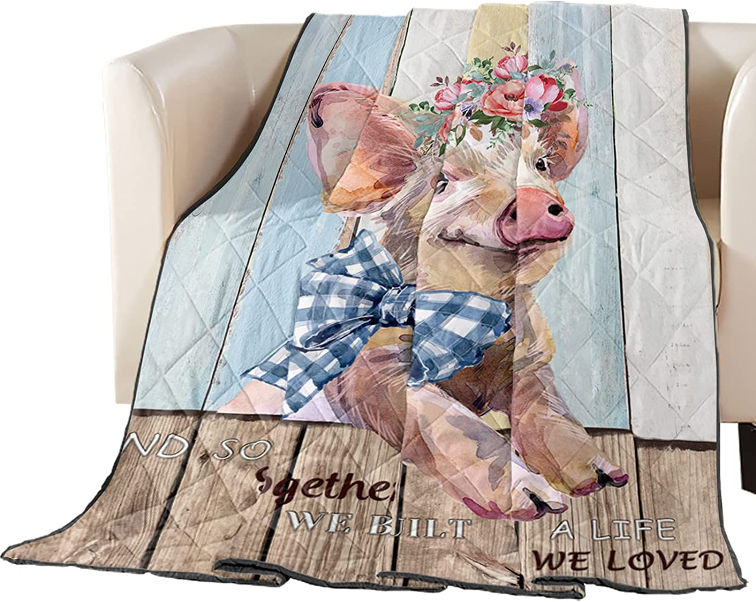 Thin Dallas Mall Comforter Bedspread Throw Blanket Flor Farm Cute Limited time trial price Animal Pig