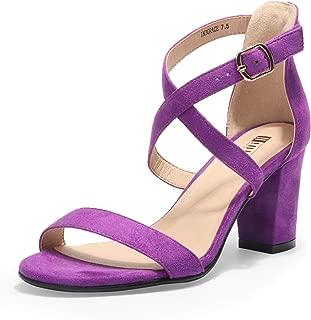 IDIFU Women's IN3 Grace Strappy Chunky Block Heels Open Toe Crisscross Ankle Strap Heeled Sandals