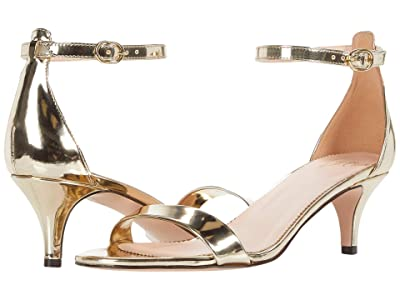J.Crew Basic Kitten Heel Sandal (Gold Mirror Metallic) Women