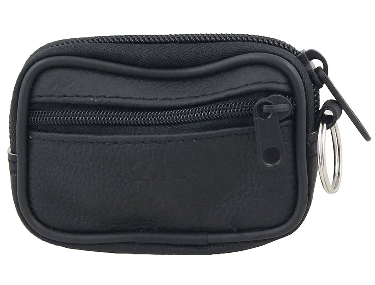 Black Faux Leather 2-Pocket Zippered Coin Keys Bag Purse