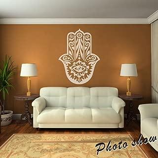 Hamsa Hand Fish Eye Decal Indian Buddha Sticker Ganesh Indian Design Murals Wall Graphic Vinyl Home Art Decor White
