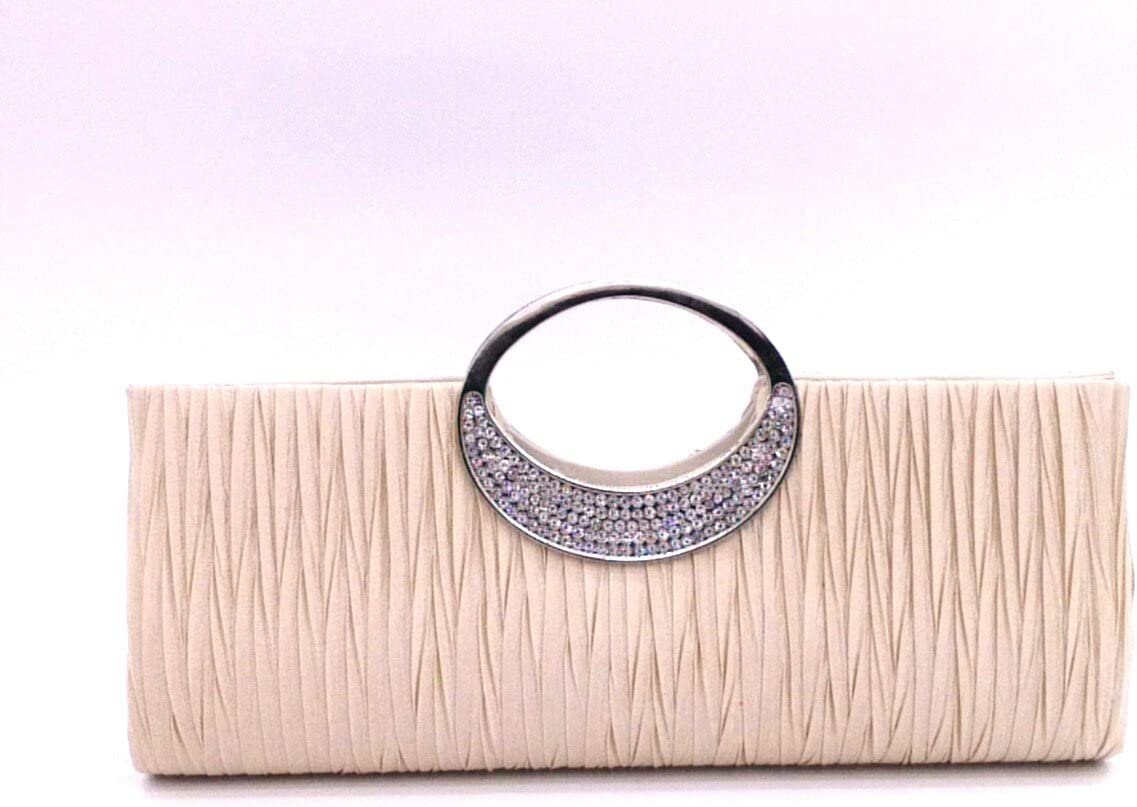 Womens Luxury Rhinestone Satin Pleated Evening Wedding Party Clutch Purse Wallet Handbag Apricot