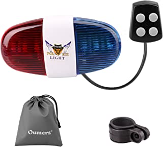 Oumers Bicycle Police Sound Light, Bike LED Light Electric Horn Siren Horn Bell, 5 LED..