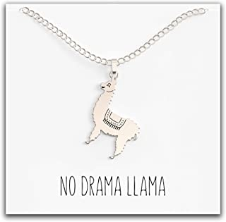 Happy Kisses Llama Necklace – Cute Llama Pendant – Sweet and Funny Message Card – No Drama Llama! – Great Llama Gift for Women – Silver & Gold Plated