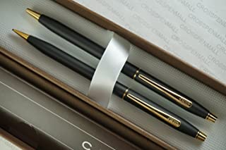 Cross Made in The USA Classic Century Matte Black and 23k Ball Point Pen and 0.9MM Pencil Set New