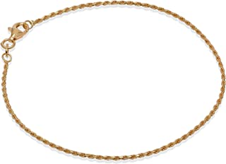 Romantico Casanova Rope Bracciale (Placcato Oro) 1,5 mm Uomo/Donna in Argento 925 - Made in Italy - ROPE Regalo San Valentino