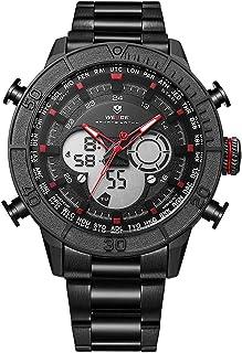 WEIDE WH6308 Dual Display Two Movement Quartz Digital Men Watch Sports 3ATM Waterproof 50mm Big Dial Large Face Week Calen...
