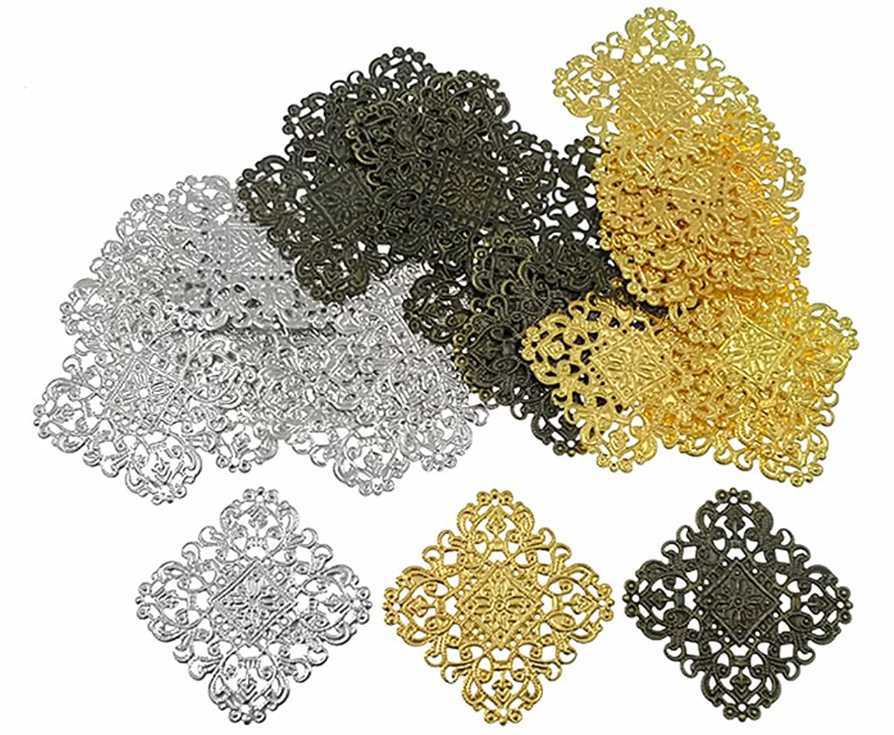 Filigree Wrap Charm Pendant Connector,Metal Laminate Decoration Supplies for DIY Hairpin Headwear Earring Costume Jewelry Making Findings(30pcs with Silver,Bronze and Gold Colors)