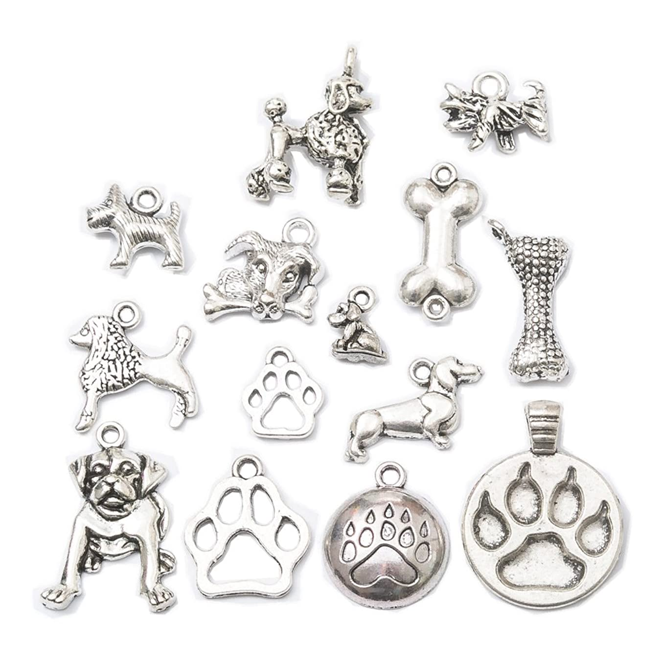 28pcs Mixed Tibetan Silver Plated Animals Dogs Charms Pendants Jewelry Making DIY Charm Handmade Crafts(Dog Charms)