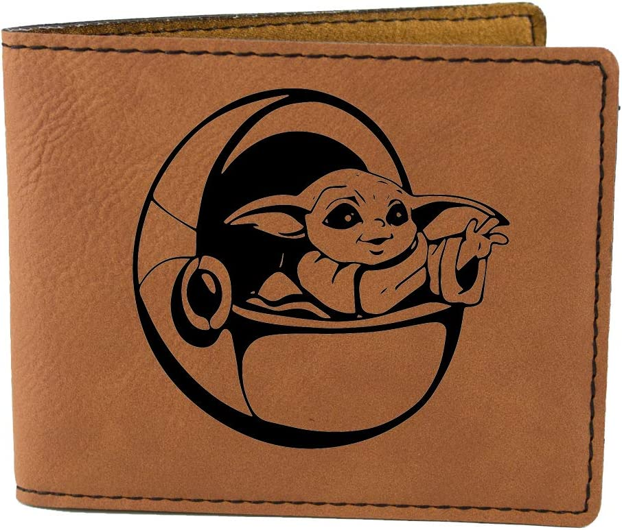 Noah's Ark Engravings Baby Yoda Star Wars Mandalorian Bifold Wallet in Vegan Leather (Brown), Medium