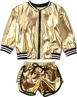 Girls Golden Outdoor Active Jacket Outfit Waterproof Long Sleeve Zipper Pullover Sweatshirt+Drawstring Short Pants